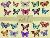 Magical Butterflies Clip Art, Separate PNG Files, High Resolution.