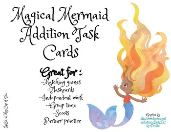 Magical Mermaid Addition Task Cards - Single Digit Addition Problems