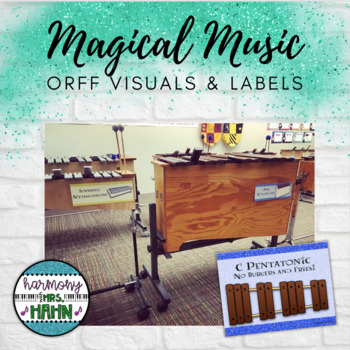 Magical Music Classroom Theme - Orff Instrument Visuals, Labels and Posters
