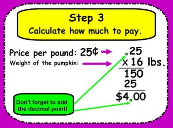 SMARTboard Halloween Pumpkin Patch Math: Multiplying Decimals by Whole Numbers
