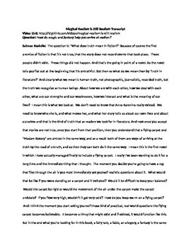 Magical Realism Unit - Day 1 Handout