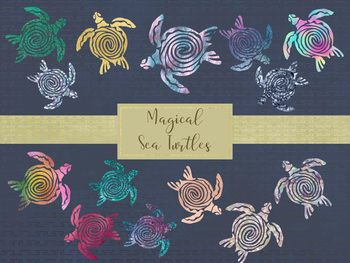 Magical Sea Turtle Clip Art Set, Separate PNG Files, High Resolution