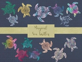 Magical Sea Turtle Clip Art Set, Separate PNG Files, High