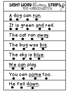 Sight Word Fluency Sentence Strips