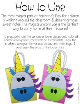 Magical Unicorn Valentine's Day Treat Bags