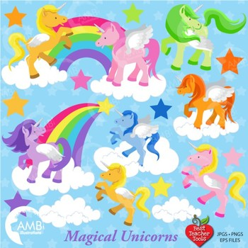 Unicorn Clipart, Magical Unicorn Clipart, {Best Teacher Tools} AMB-160