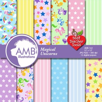 Unicorn Digital Papers and Backgrounds, Magical Unicorn Papers AMB-163