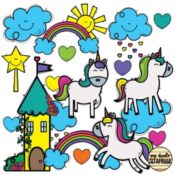 Magical Unicorns(Clip Art for Personal & Commercial Use)