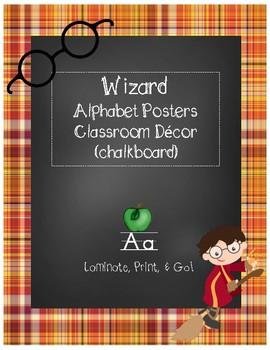 Magical Wizard Classroom Theme - Alphabet Posters (Plaid)