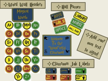 Magical Wizard Themed Classroom Decoration and Organization Bundle