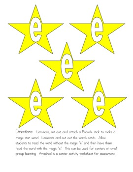 """Magical """"e"""" Word Game: Distinguish Between Long and Short Vowel a"""