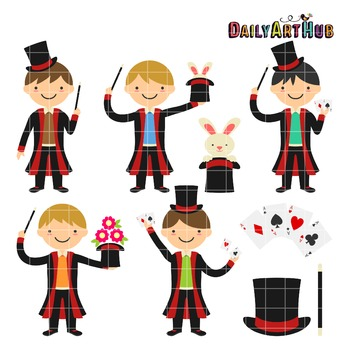 Magician Boys Clip Art - Great for Art Class Projects!