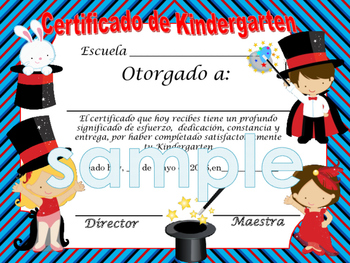 Magician blue background Achievement award English / Spanish version