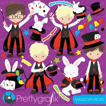 Magician boys clipart commercial use, vector graphics, digital - CL700