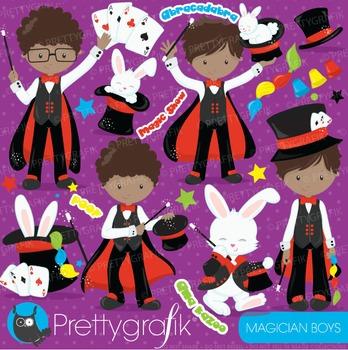 Magician boys clipart commercial use, vector graphics, digital - CL705