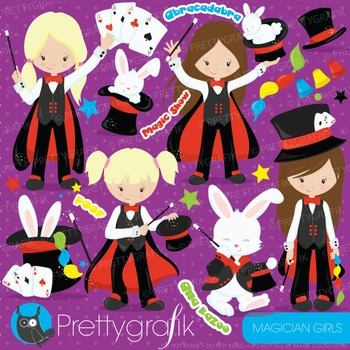 Magician girls clipart commercial use, vector graphics, di