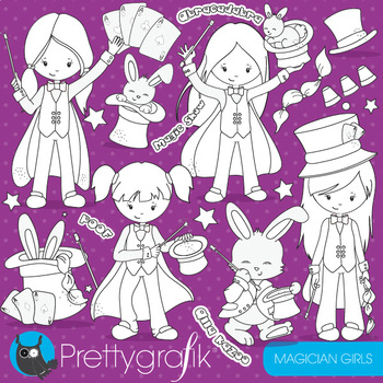 Magician girls stamps,  commercial use, vector graphics, images  - DS701
