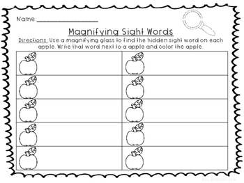 Magnifying Sight Words-Apples