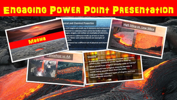 Magma and Lava No Prep Lesson with Power Point, Worksheet, and Word Search