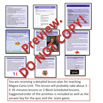 Magna Carta: Anticipation guide, Rubric for project; True/False game answer key