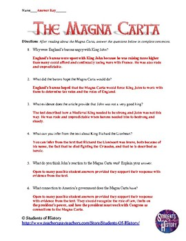 Worksheets Magna Carta Worksheet magna carta common core rea by students of history teachers reading worksheet