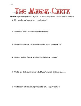 magna carta for students 2010-3-15 magna carta assignment preknowledge: the magna carta is one of the most important documents in medieval history it outlined many of the rights for english citizens which are still.