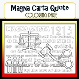 Magna Carta Quote Coloring Page- Civics SS.7.C.1.2