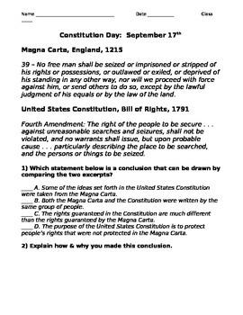 Magna Carta & U.S.Constitution Comparison
