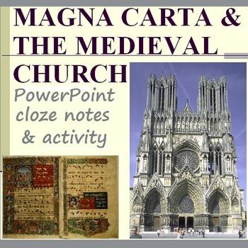 MAGNA CARTA & THE CHURCH: activity, powerpoint, & cloze notes sheet