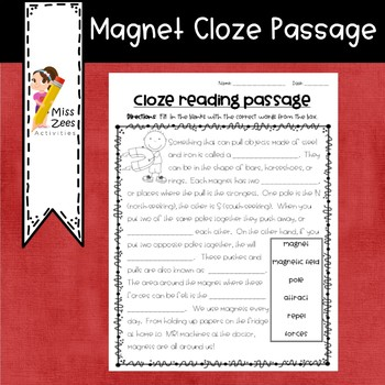 Magnet Cloze Reading Passage