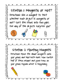 Magnet Experiment Stations & Worksheet