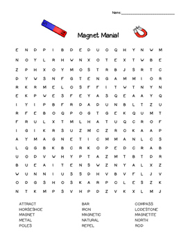 Magnet Mania!  Word Search -- Essential Vocabulary!