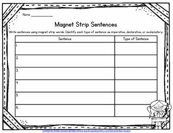 Magnet Strips Sentence Recording Forms Freebie