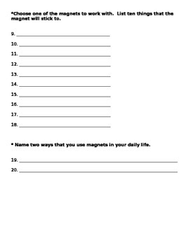 Magnet Task Sheet 2