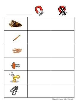 Magnet Worksheet Pre-K, K, 1