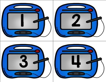 Magnetic Drawing Board Math Center / Station - Numbers 1-20 and 2D Shapes