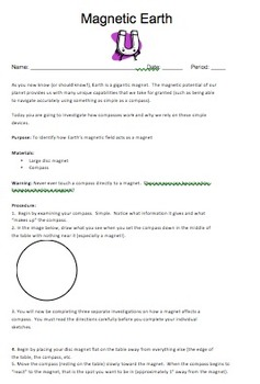 Magnetic Earth Compass Lab {Editable}