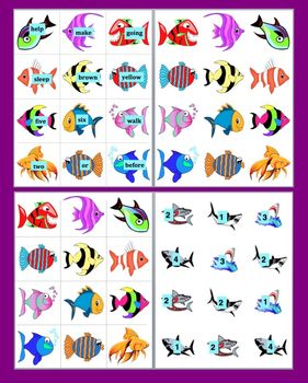"""Sight Words:  Fishing! - Magnetic Literacy Center- Set 2 - """"Shark Attack!"""""""