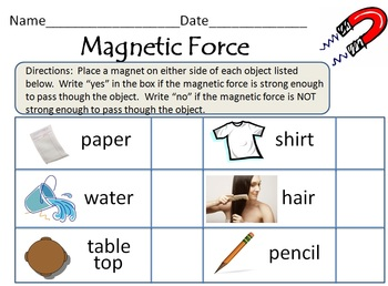 Magnetic Force Activity Worksheet