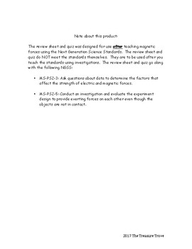 Magnetic Forces Review Sheet and Quiz based on NGSS