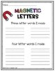 Magnetic Letter Activity Center Sheet