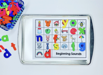 Letter Recognition, Beginning Sounds, and Ending Sounds Magnetic Letter Center
