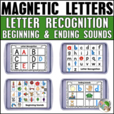 Letter Recognition, Beginning Sounds, & Ending Sounds Magnetic Letter Activities