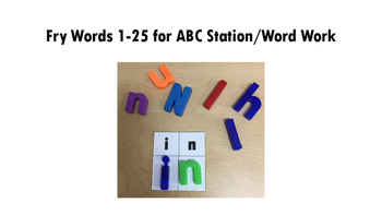 Magnetic Letter Fry Words 1-25 ABC Station/Word Work Cards