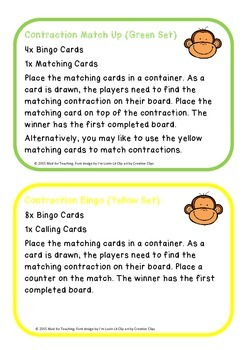 Contraction Match Up and Bingo