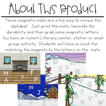 Magnetic Letter Mats | Winter Literacy Centers