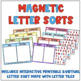 Magnetic Letter Tile Sorts {Includes Virtual Sorting Mats