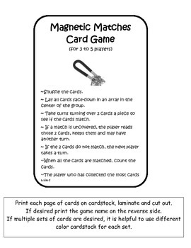 Magnetic Matches Card Game