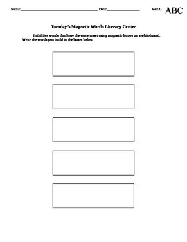 Magnetic Words Literacy Center Materials