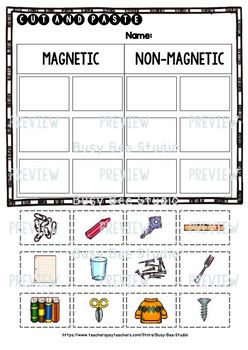 Magnetic vs Non-Magnetic   Cut and Paste Worksheets